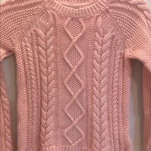 GAP Cotton PINK FISHERMAN KNIT SWEATER WARM LG 10